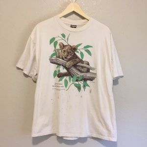 1991 wildlife print mountain lion Cotton T-shirt